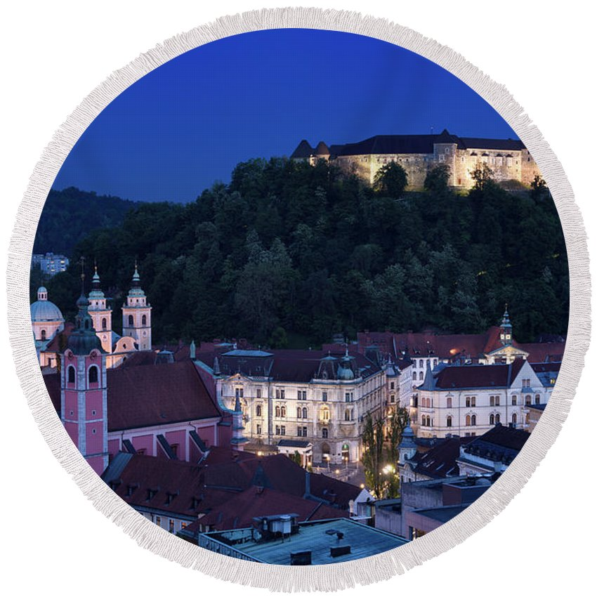 Old Town Round Beach Towel featuring the photograph Hlltop Ljubljana Castle Overlooking The Old Town Of Ljubljana Ca by Reimar Gaertner