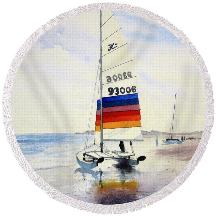 Hobie Cat Round Beach Towel featuring the painting Hobie Cat 6 by William Gardner
