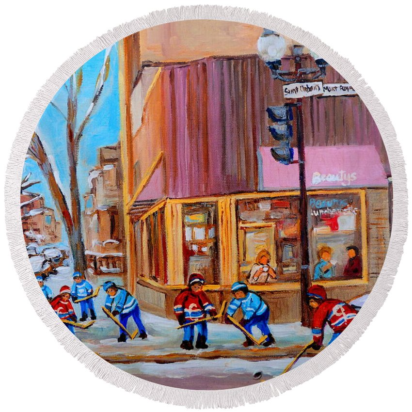 Beautys Luncheonette. Round Beach Towel featuring the painting Hockey At Beautys Deli by Carole Spandau