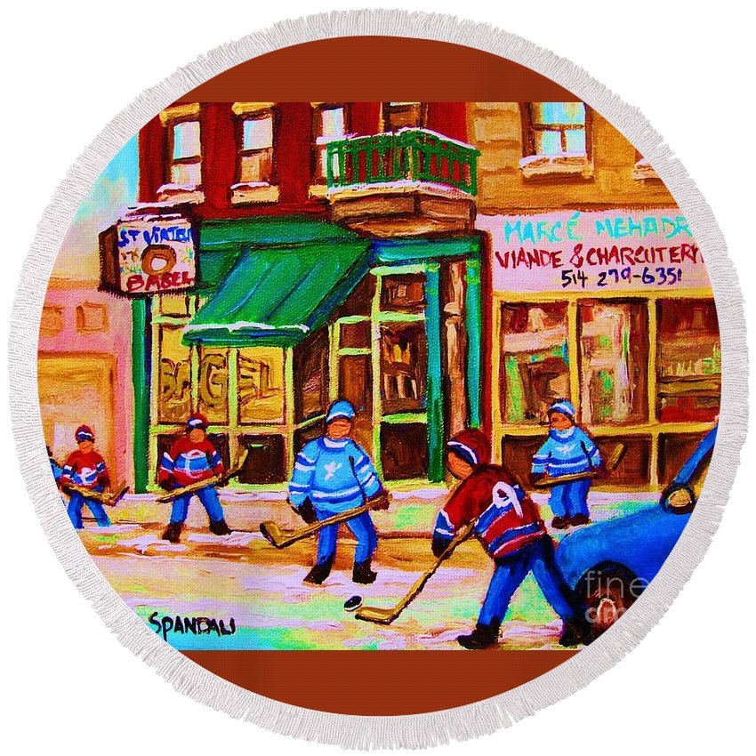 Hockey Art Round Beach Towel featuring the painting Hockey At Mehadrins by Carole Spandau
