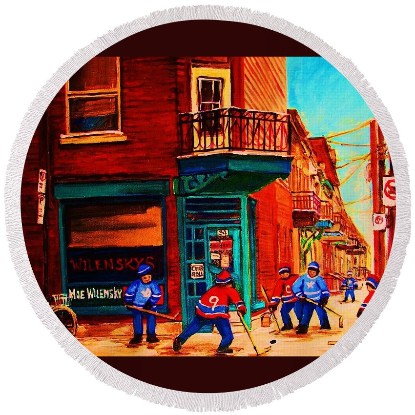Wilenskys Round Beach Towel featuring the painting Hockey At Wilenskys Corner by Carole Spandau
