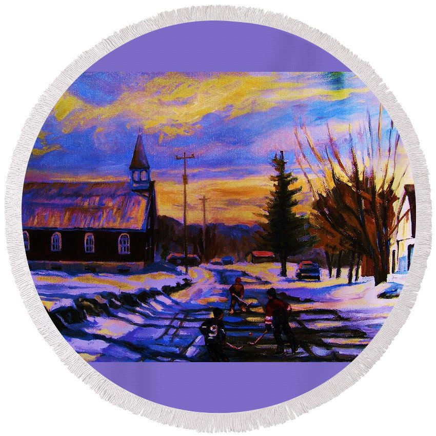 Montreal Round Beach Towel featuring the painting Hockey Game In The Village by Carole Spandau