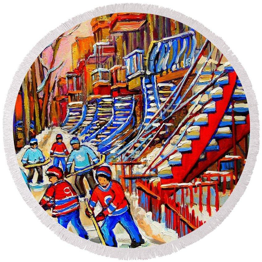 Montreal City Round Beach Towel featuring the painting Hockey Game Near The Red Staircase by Carole Spandau