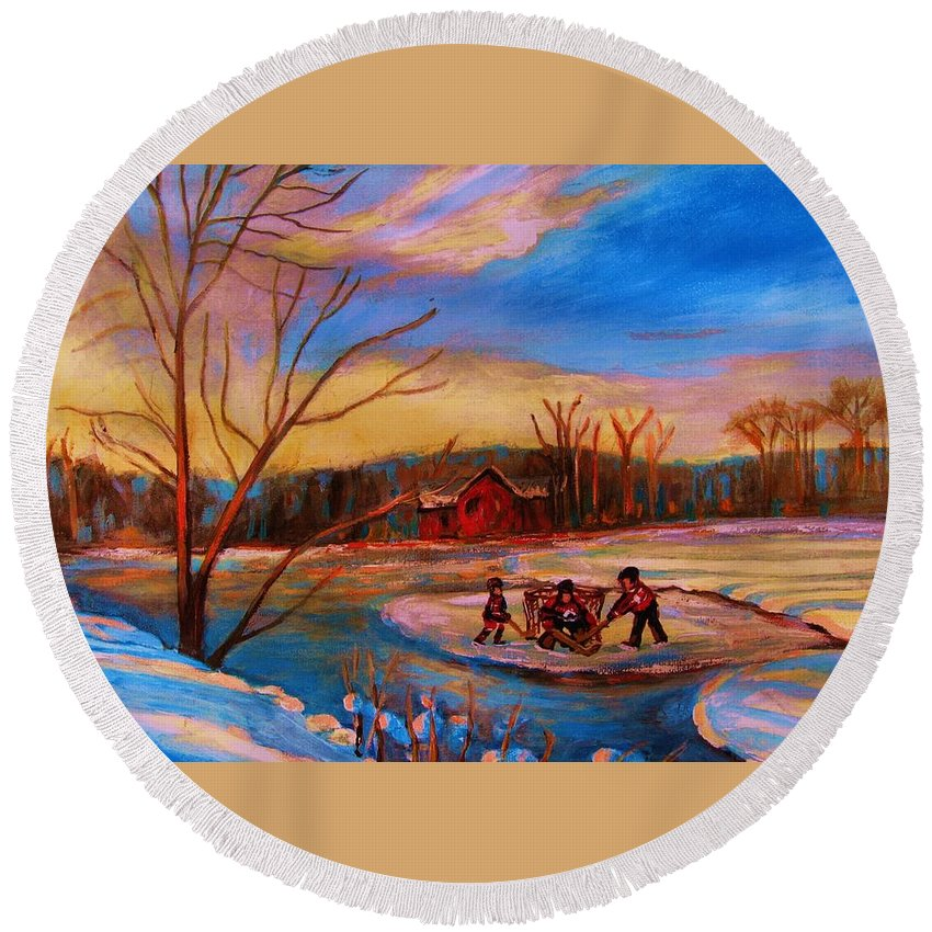 Pond Hockey Round Beach Towel featuring the painting Hockey Game On Frozen Pond by Carole Spandau