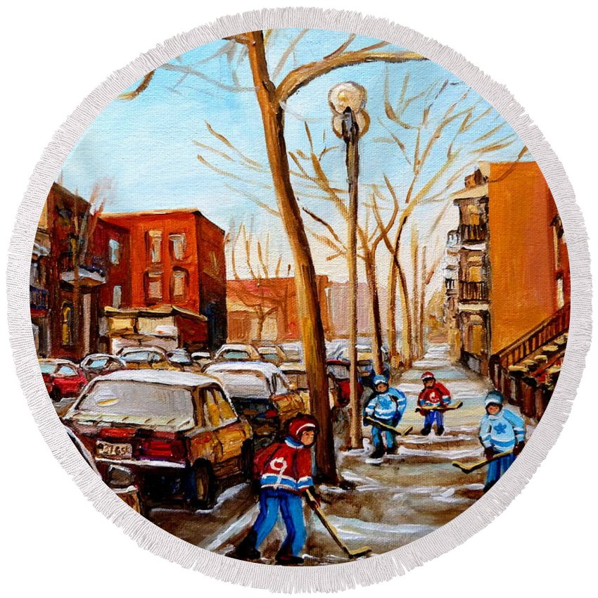 Hockey Round Beach Towel featuring the painting Hockey On St Urbain Street by Carole Spandau