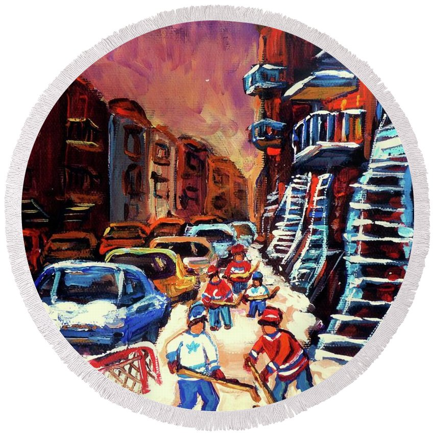 Montreal Round Beach Towel featuring the painting Hockey Paintings Of Montreal St Urbain Street Winterscene by Carole Spandau