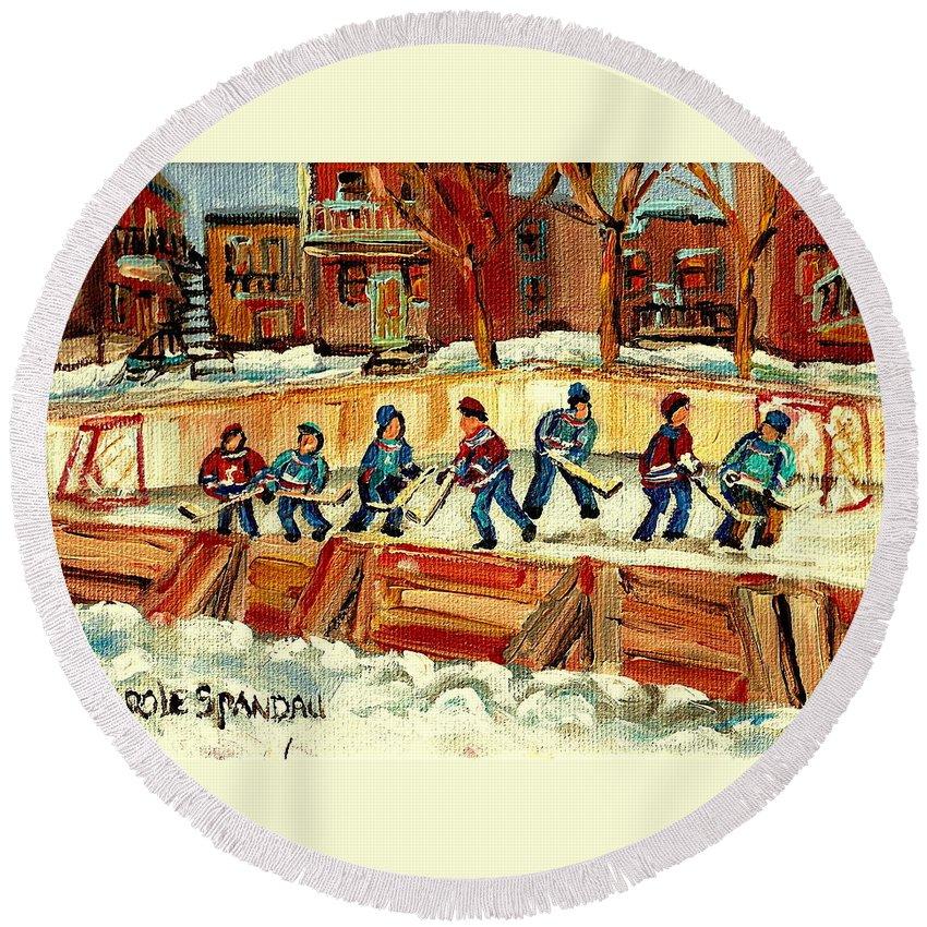 Hockey Rinks In Montreal Round Beach Towel featuring the painting Hockey Rinks In Montreal by Carole Spandau