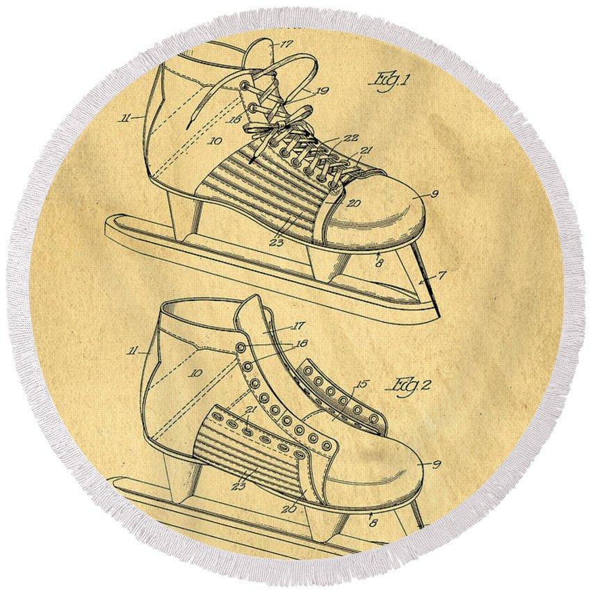 Hockey Round Beach Towel featuring the digital art Hockey Skates Patent Art Blueprint Drawing by Edward Fielding
