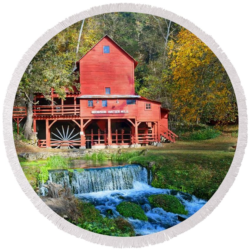 Mill Round Beach Towel featuring the photograph Hodgsons Mill by Marty Koch