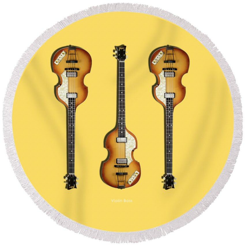 Hofner Violin Bass Round Beach Towel featuring the photograph Hofner Violin Bass 62 by Mark Rogan