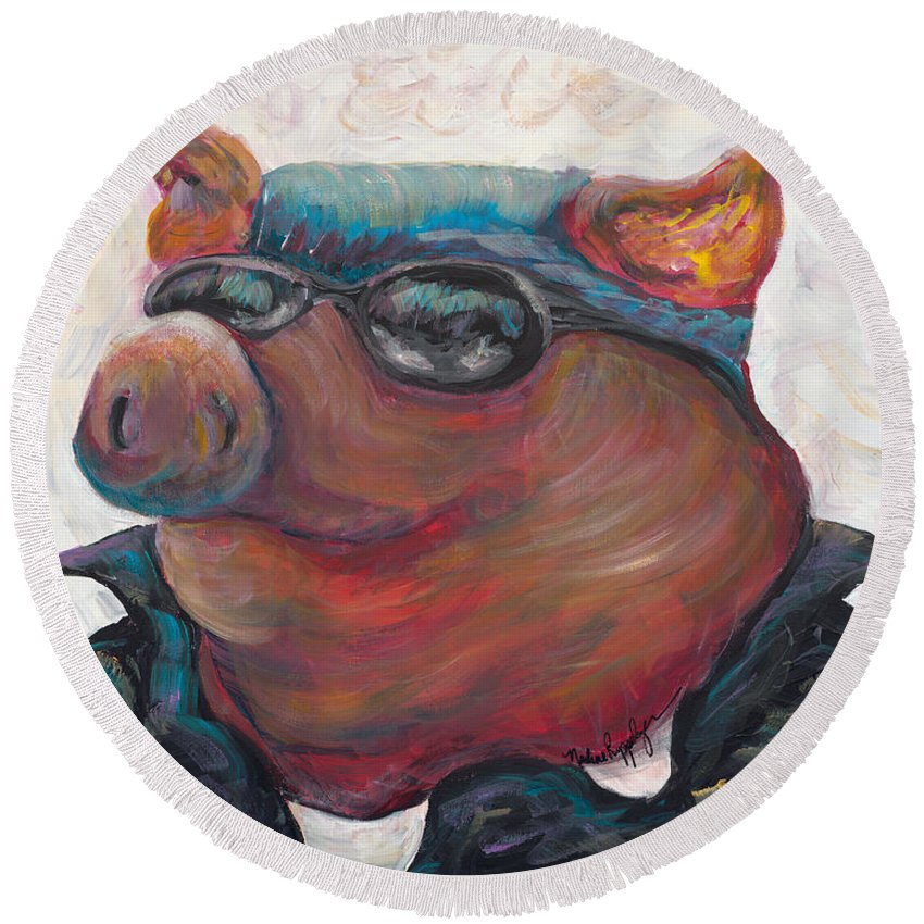 Hog Round Beach Towel featuring the painting Hogley Davidson by Nadine Rippelmeyer