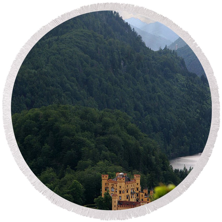 Hohenschwangau Round Beach Towel featuring the photograph Hohenschwangau Castle by Jessica Velasco