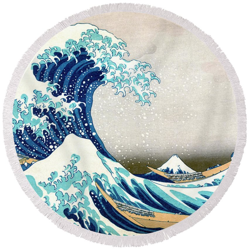 Japanese Round Beach Towel featuring the painting Hokusai Great Wave off Kanagawa by Katsushika Hokusai