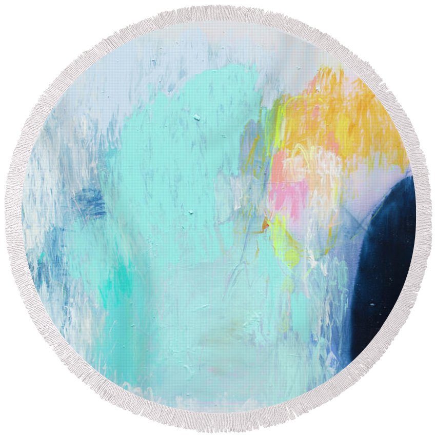 Abstract Round Beach Towel featuring the painting Hold My Breath by Claire Desjardins