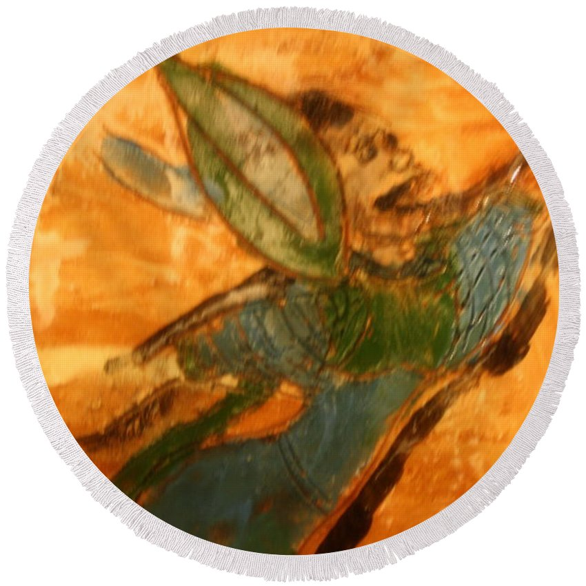 Jesus Round Beach Towel featuring the ceramic art Hold On - Tile by Gloria Ssali