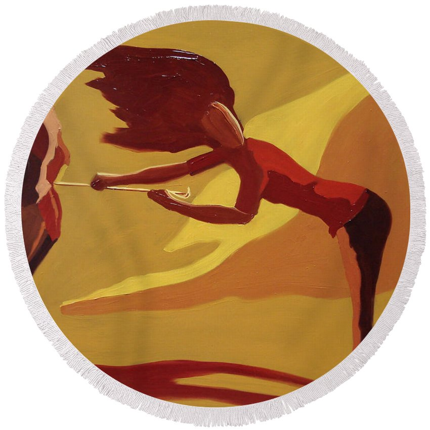 Woman Round Beach Towel featuring the painting Hold On by Barbara Andolsek
