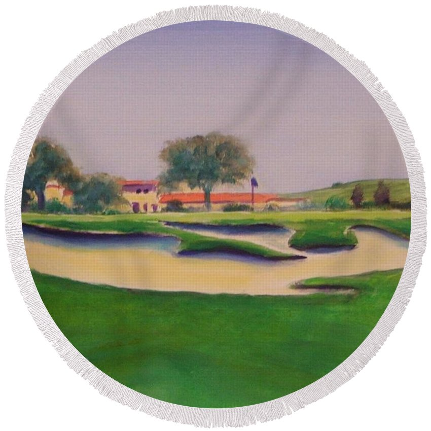 Golf Round Beach Towel featuring the painting Hole 18 Safe Passage by Shannon Grissom