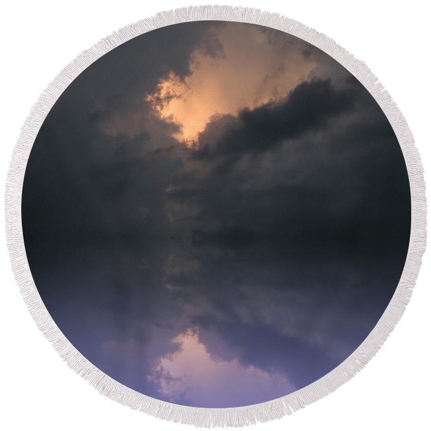 Clouds Round Beach Towel featuring the photograph Hole In The Sky by Bill Cannon