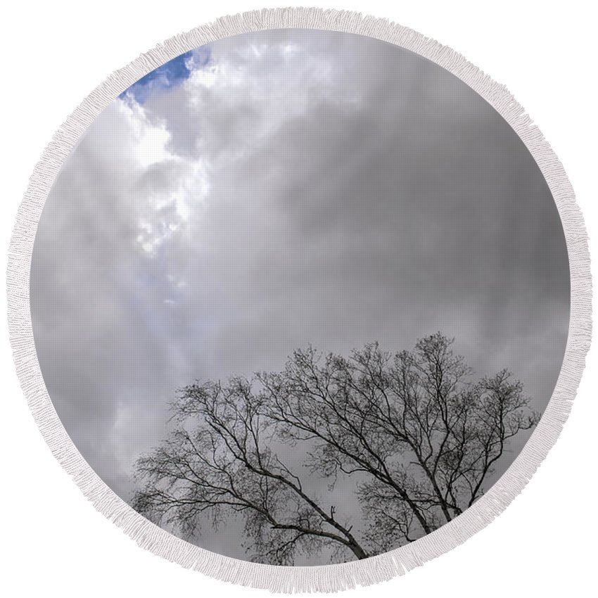 Birch Round Beach Towel featuring the photograph Hole In The Sky by Steve L'Italien
