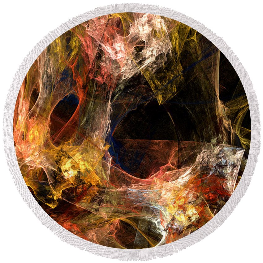Abstract Round Beach Towel featuring the digital art Holes by Ruth Palmer