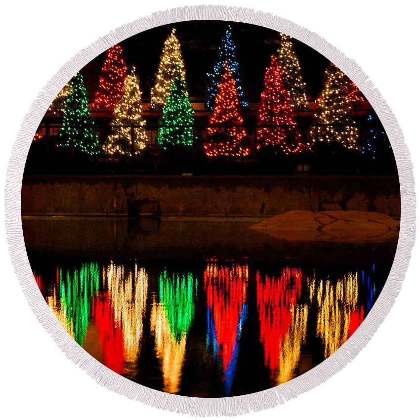 Lincoln Park Zoo Round Beach Towel featuring the photograph Holiday Evergreen Reflections by Nancy Mueller