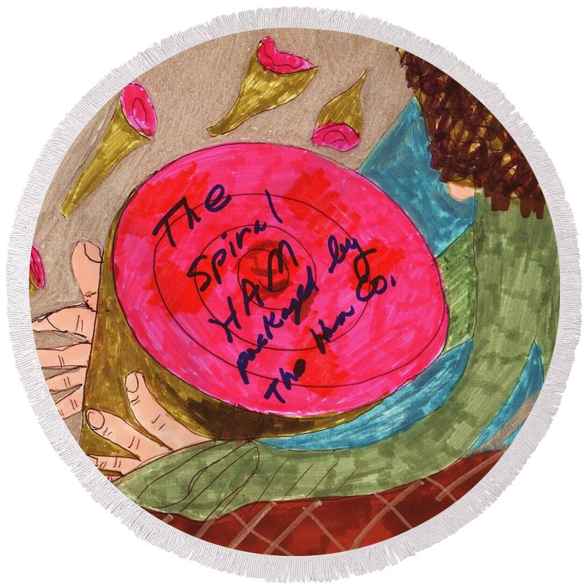 A Honey Spiral Ham With A Lady Shopping In A Market Round Beach Towel featuring the mixed media Holiday Ham by Elinor Rakowski