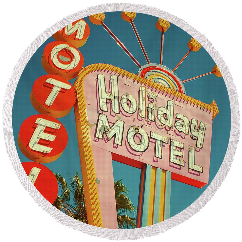 Las Vegas Round Beach Towel featuring the photograph Holiday Motel, Las Vegas by Jim Zahniser
