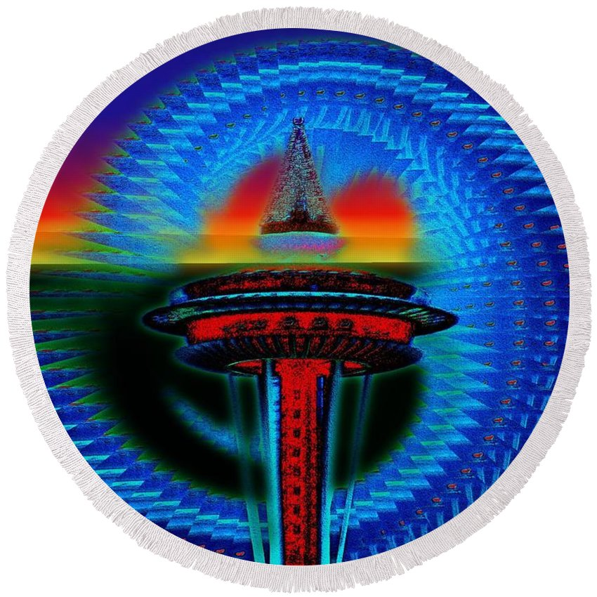 Seattle Round Beach Towel featuring the digital art Holiday Needle Illusion by Tim Allen