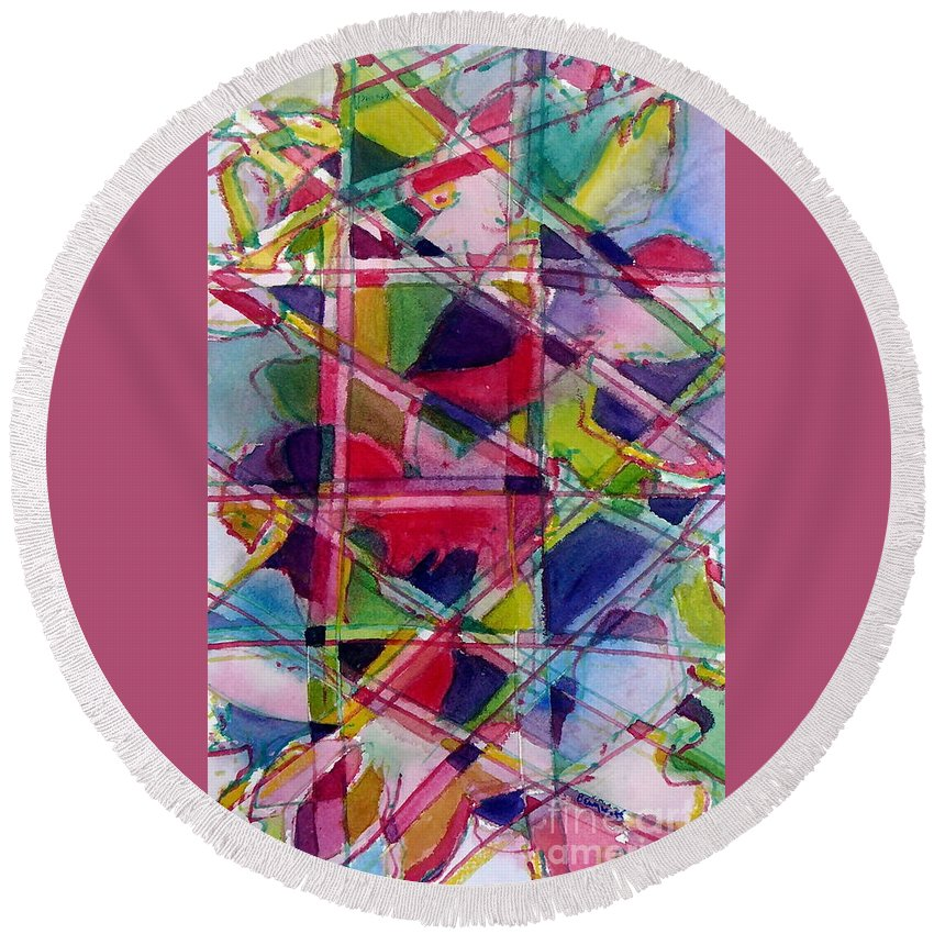 Abstract Round Beach Towel featuring the painting Holiday Rush by Jan Bennicoff