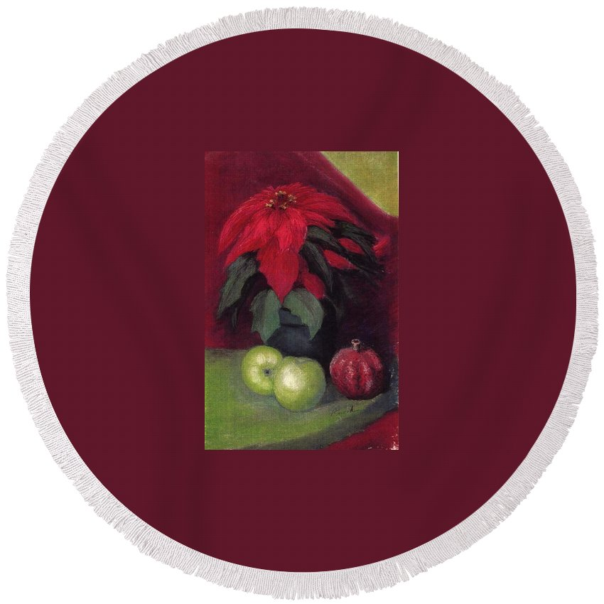 Poinsettia Pomegranite Fruit Holiday Christmas Round Beach Towel featuring the pastel Holiday Treats by Pat Snook