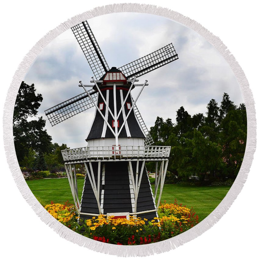 Windmill Round Beach Towel featuring the photograph Holland Grey Windmill by Amy Lucid