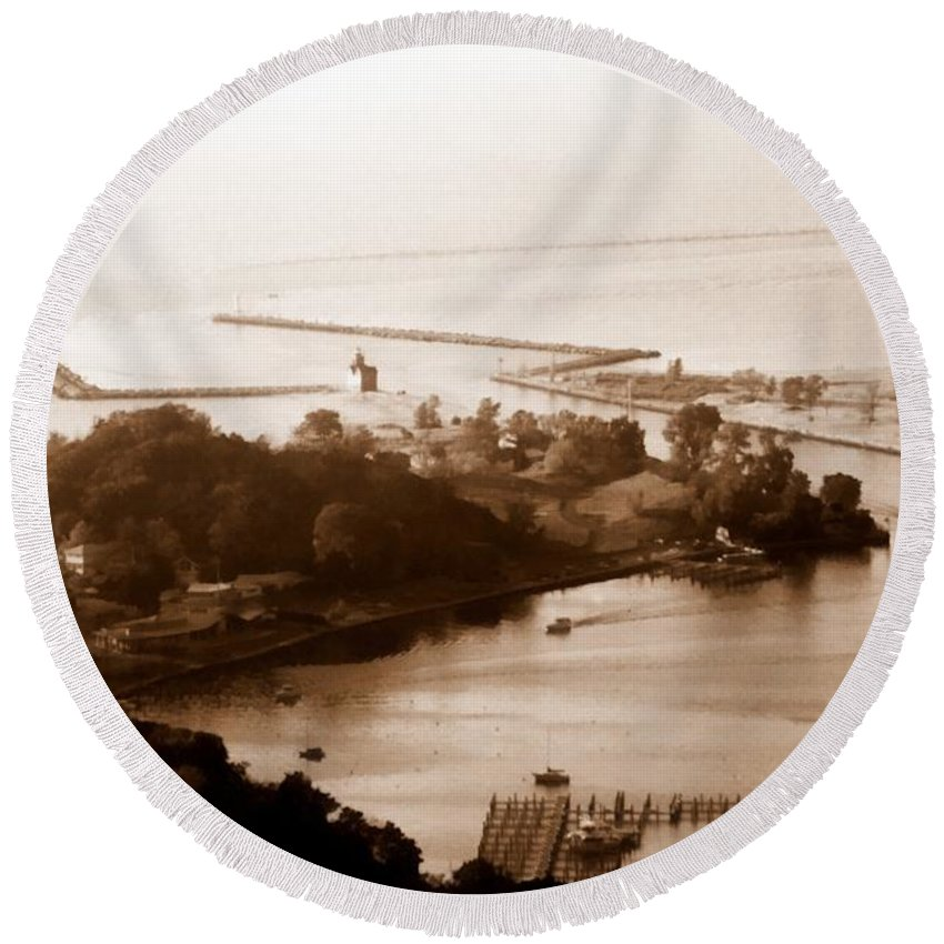 Holland Round Beach Towel featuring the photograph Holland Michigan Harbor Big Red Aerial Photo by Michelle Calkins