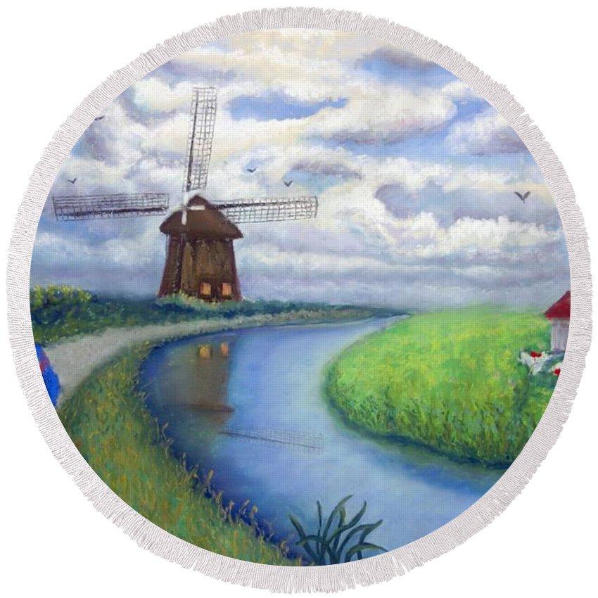 Biking Round Beach Towel featuring the painting Holland Windmill Bike Path by Minaz Jantz