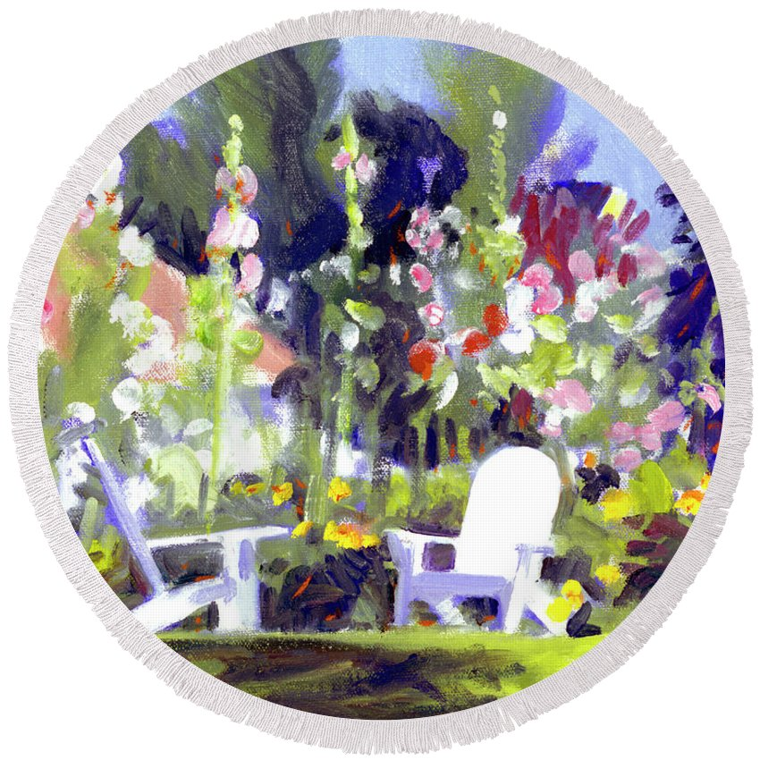 Colony Hotel Round Beach Towel featuring the painting Holly Hocks by Candace Lovely