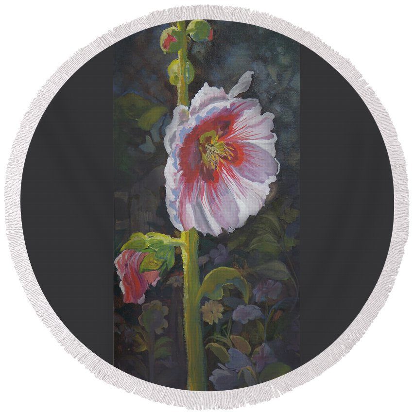 Flower Round Beach Towel featuring the painting Hollyhock by Heather Coen
