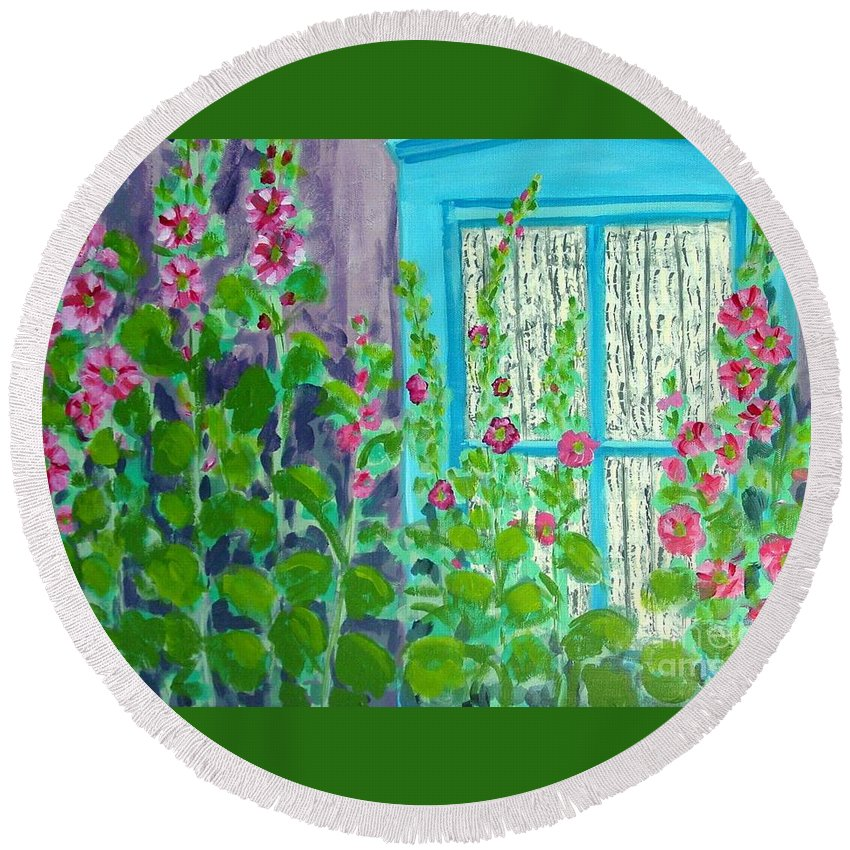 Hollyhocks Round Beach Towel featuring the painting Hollyhock Surprise by Laurie Morgan