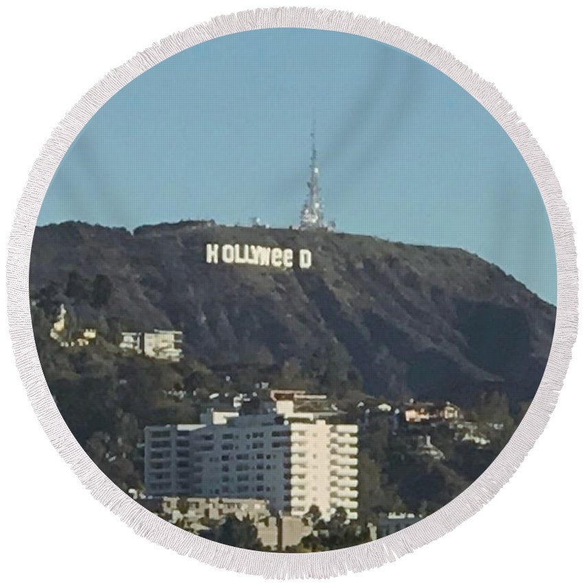 Hollywood Round Beach Towel featuring the photograph Hollyweed Sign by YourRadioFriend