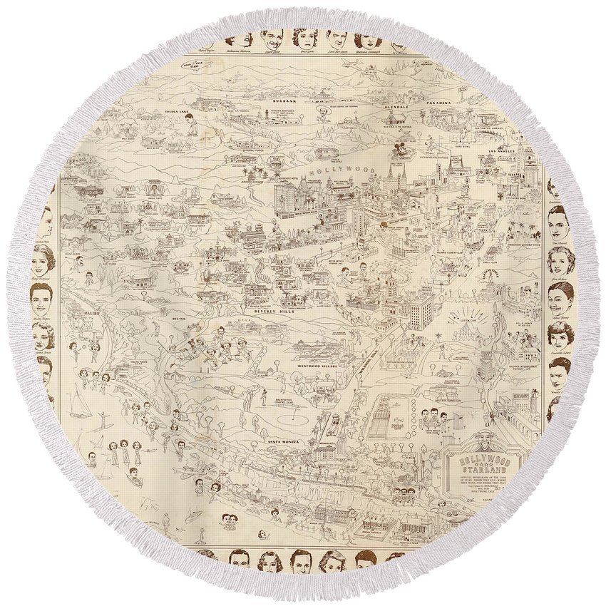Hollywood Map To The Stars 1937 Round Beach Towel featuring the painting Hollywood Map To The Stars 1937 by Don Boggs