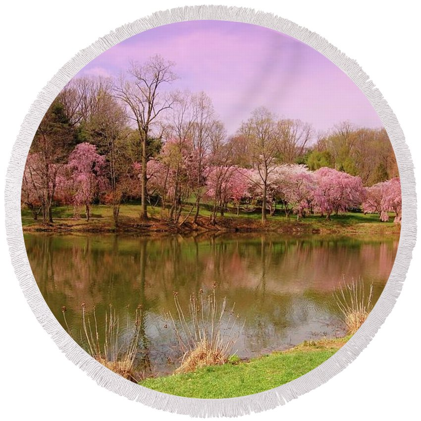 Cherry Blossom Round Beach Towel featuring the photograph Holmdel Park In Spring by Angie Tirado