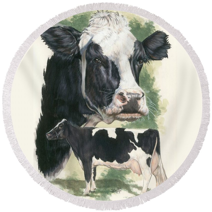 Cow Round Beach Towel featuring the mixed media Holstein by Barbara Keith