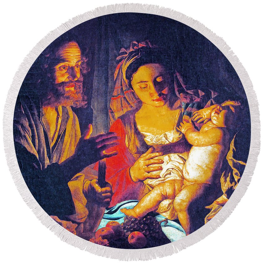 Holy Family Round Beach Towel featuring the painting Holy Fruits by Munir Alawi