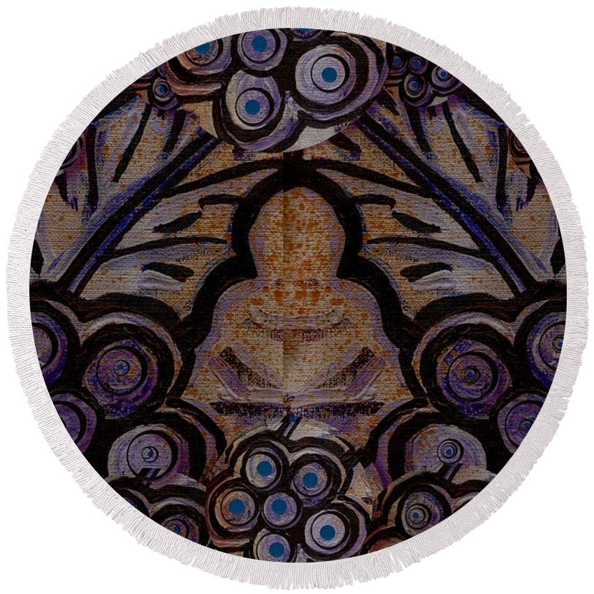 Meditative Round Beach Towel featuring the painting Holy In Peace And Acryl by Pepita Selles
