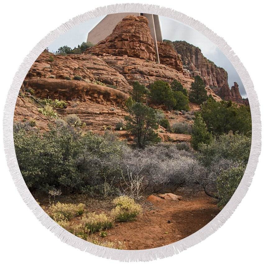Sedona Round Beach Towel featuring the photograph Holy Land by Sandra Parlow