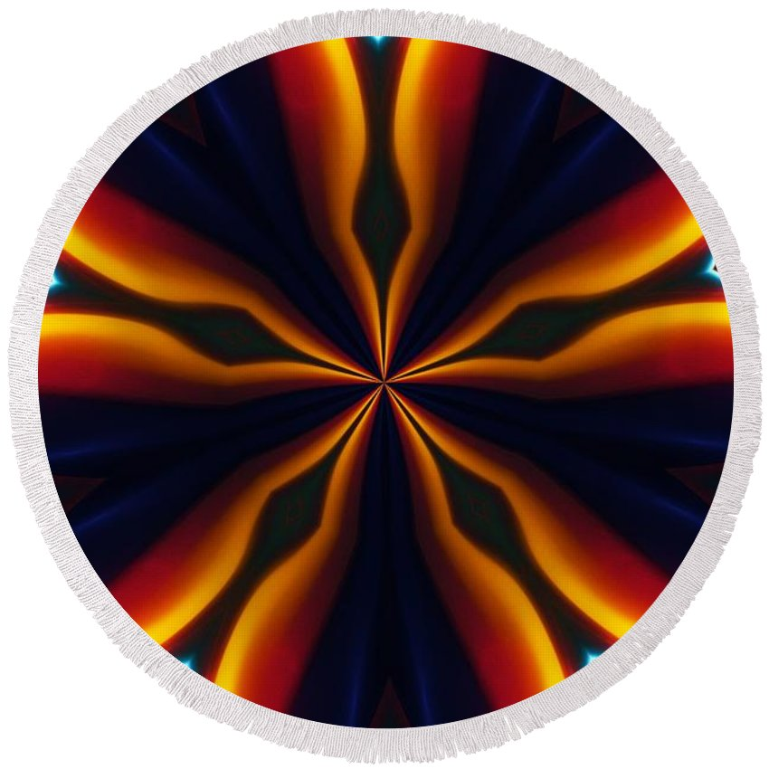 Abstract Round Beach Towel featuring the digital art Homage To Georgia O'keeffe by David Lane