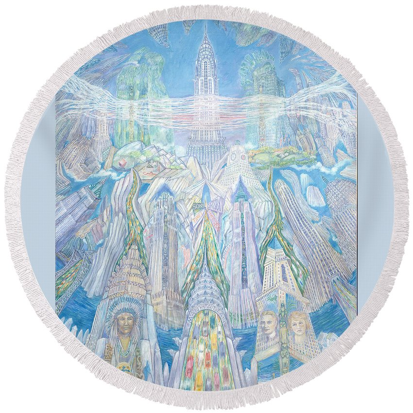 New York Cityscape Round Beach Towel featuring the painting Homage To New York And The Chrysler Building by Patricia Buckley