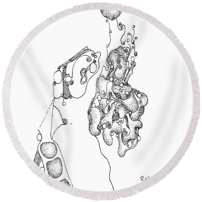 Surrealism Round Beach Towel featuring the drawing Homage To Tanguy by Regina Valluzzi