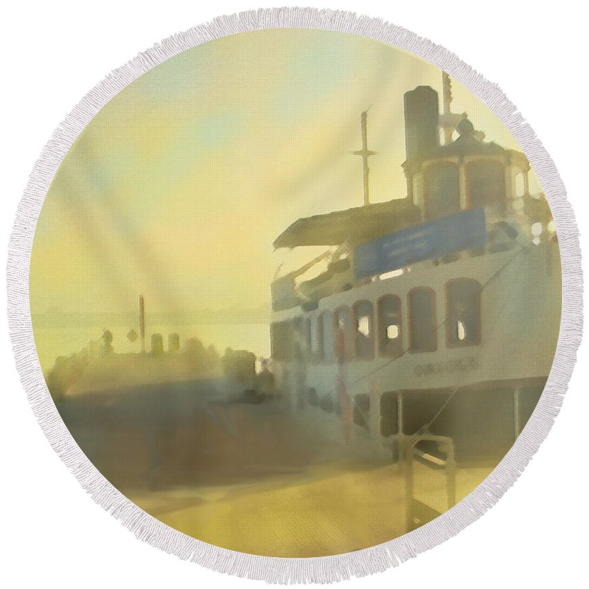 Harbor Round Beach Towel featuring the digital art Home By Sunset by Ian MacDonald