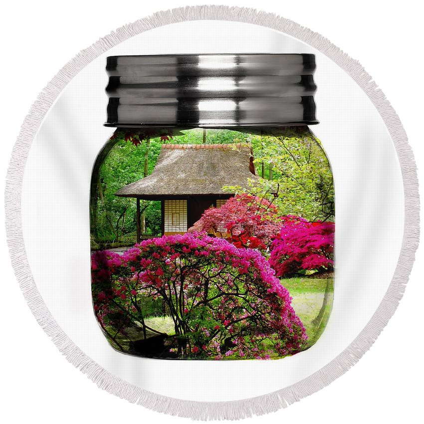 Flower Round Beach Towel featuring the mixed media Home Flower Garden In A Glass Jar Art by Marvin Blaine