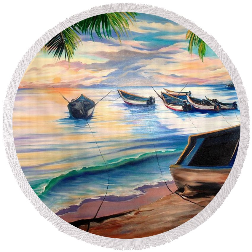 Ocean Painting Caribbean Painting Seascape Painting Beach Painting Fishing Boats Painting Sunset Painting Blue Palm Trees Fisherman Trinidad And Tobago Painting Tropical Painting Round Beach Towel featuring the painting Home From The Sea by Karin Dawn Kelshall- Best