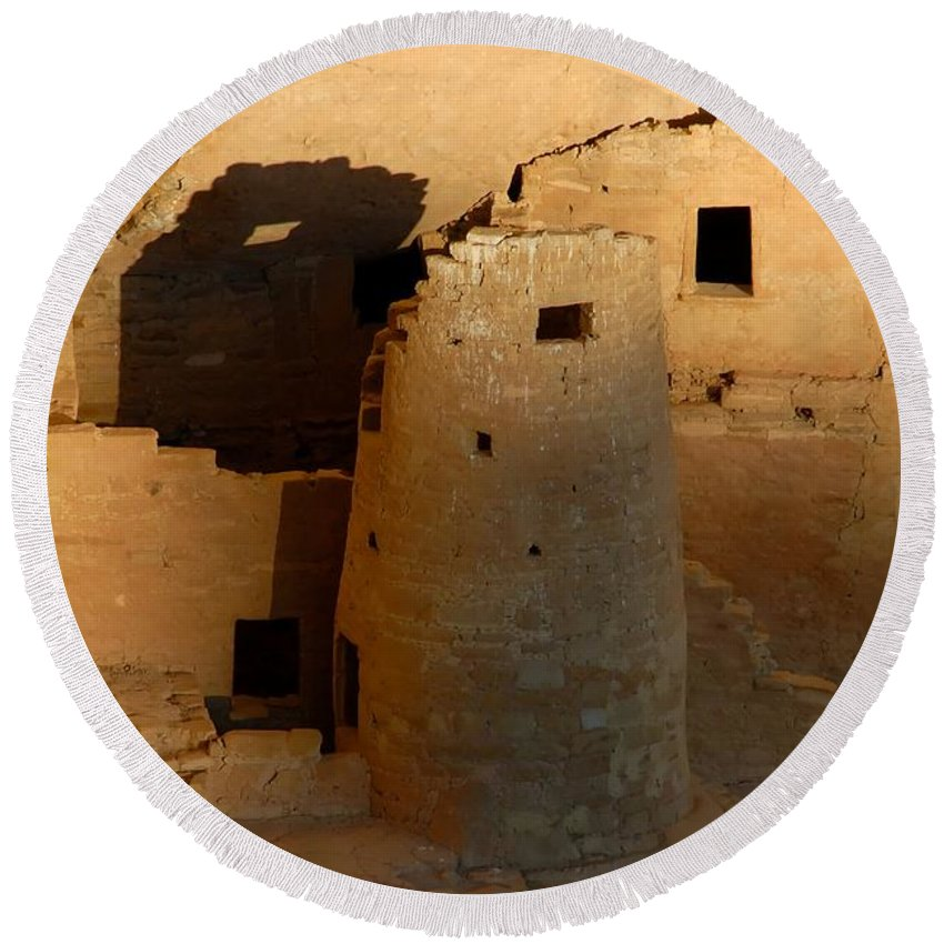 Anasazi Round Beach Towel featuring the photograph Home Of The Anasazi by David Lee Thompson